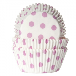 HoM Baking cups Polkadot white/baby pink - pk/50