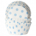HoM Baking cups Polkadot white/baby blue - pk/50