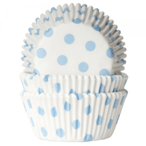 HoM Baking cups Polkadot white/baby blue - pk/50