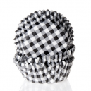 HoM Mini Baking cups Gingham Black - pk/60
